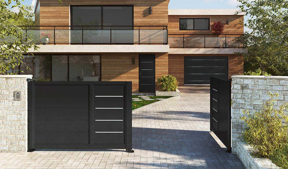 Portail aluminium horizal d couvrez des centaines de for Portail garage sur mesure