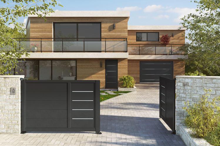 Portail aluminium design portail design accord porte for Portail de garage aluminium