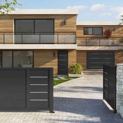 Portail aluminium design portail design accord porte entr e porte de garage - Portail battant 1 porte ...